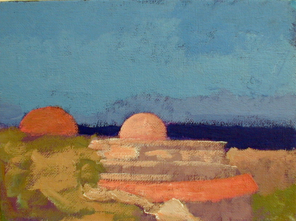 Newberry, Kalithea Domes, 2008, oil on panel, 8x10""