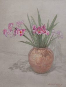 """Newberry, Pink Orchids, 2017, oil on canvas, 24x16"""""""