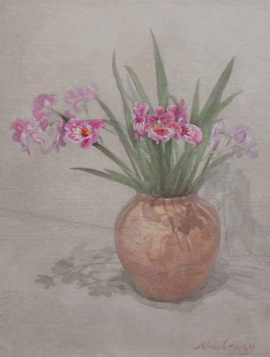 Newberry, Pink Orchids, 2017, oil on canvas, 24x16""