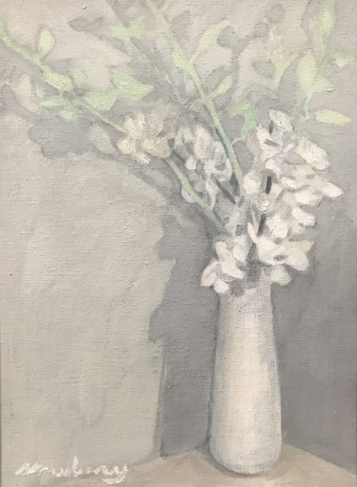 Newberry, White Orchids, 2019, oil on canvas, 12x9""