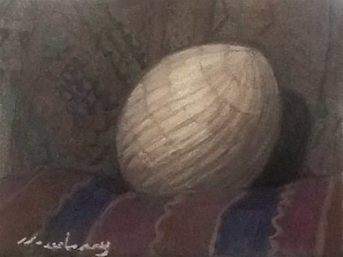Newberry, Carved Stone Egg, 2016, oil on panel, 9x12""