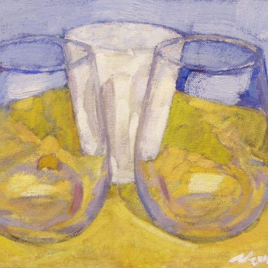 Newberry, Two Glass Cups, 2010, acrylic on panel, 9x12""