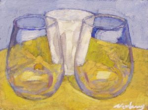 """Newberry, Two Glass Cups, 2010, acrylic on panel, 9x12"""""""