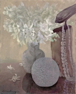 """Newberry, White Orchids, 2010, acrylic on canvas, 24x18"""""""