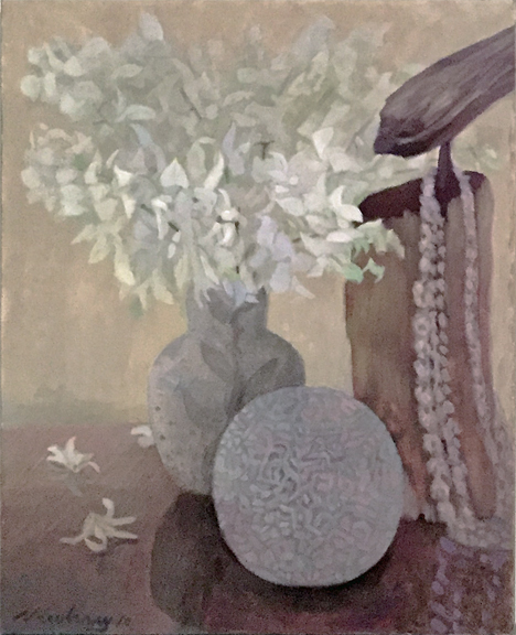 Newberry, White Orchids, 2010, acrylic on canvas, 24x18""