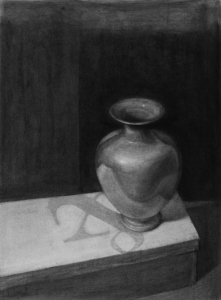 Anita Murphy, Jug, charcoal on Rives BFK, 18x13""