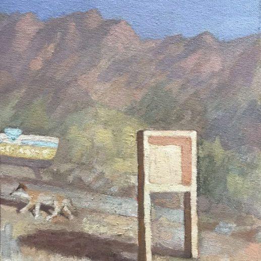 "Newberry, Coyote, 2020, oil on panel, 12x9"""