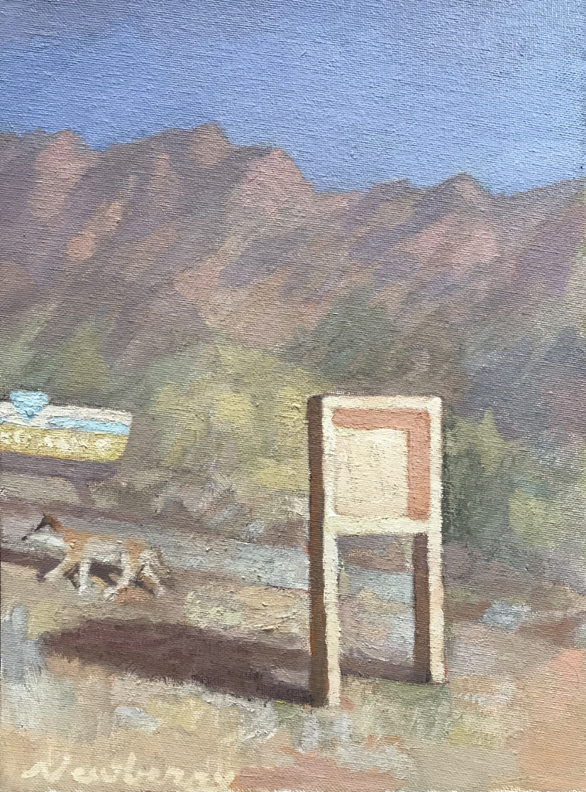 Newberry, Coyote, 2020, oil on panel, 12x9""