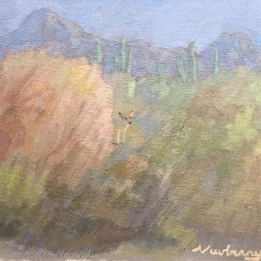 "Newberry, Desert Coyote, 2020, oil on panel, 9x12"""