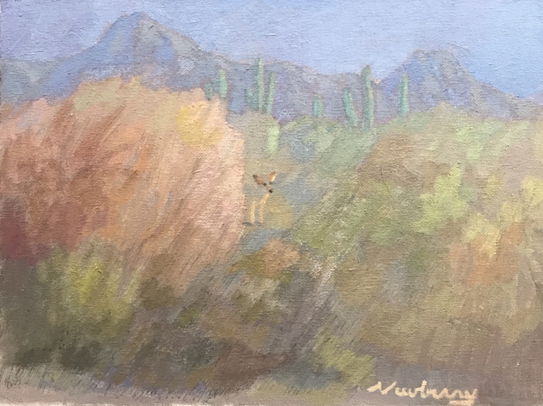 Newberry, Desert Coyote, 2020, oil on panel, 9x12""