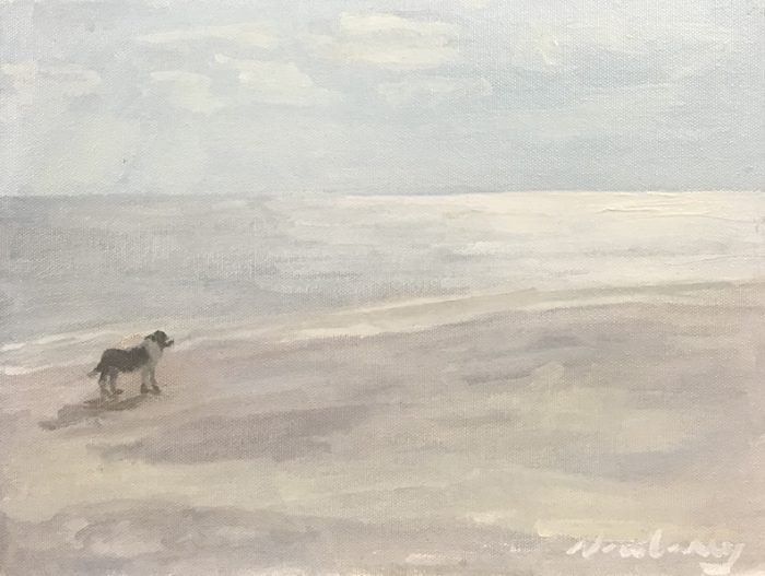"""Newberry, Doggie at the Beach, 2020, oil on panel, 9x12"""""""