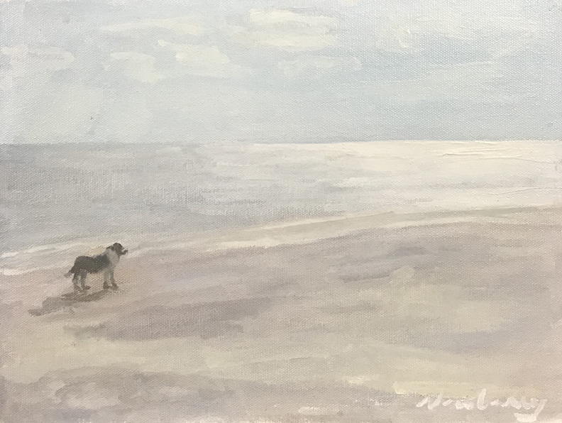 Newberry, Doggie at the Beach, 2020, oil on panel, 9x12""