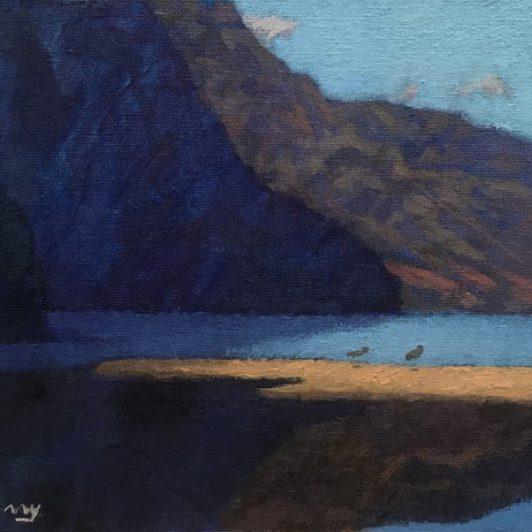 "Newberry, Kauai Sandpipers, 2020, oil on panel, 9x12"""