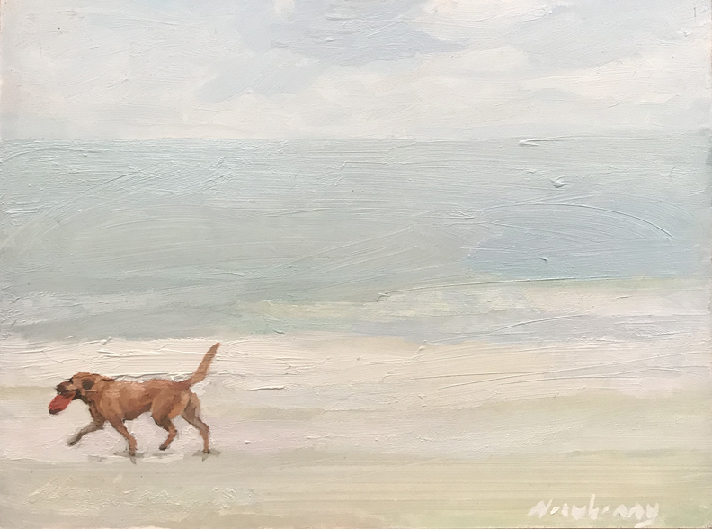 Newberry, Retriever, 2020, oil on panel, 9x12""