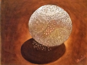 Chan Luu, Orb, oil on panel, 12x16""