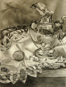 Mary Woodul, Silver Pitcher, charcoal on Rives BFK, 19x13""