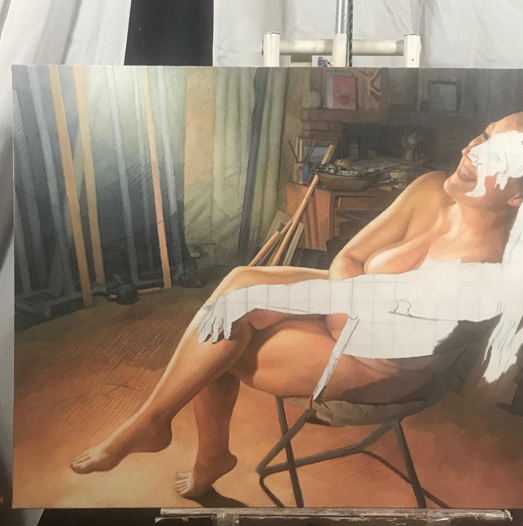 Newberry, Model in the Studio, wip, detail 2