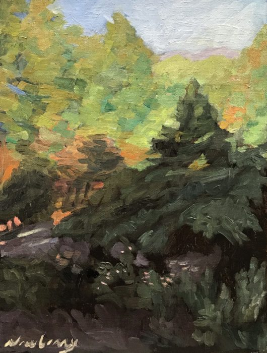 Newberry, Idyllwild Backyard, 2020, oil on panel, 12x9""