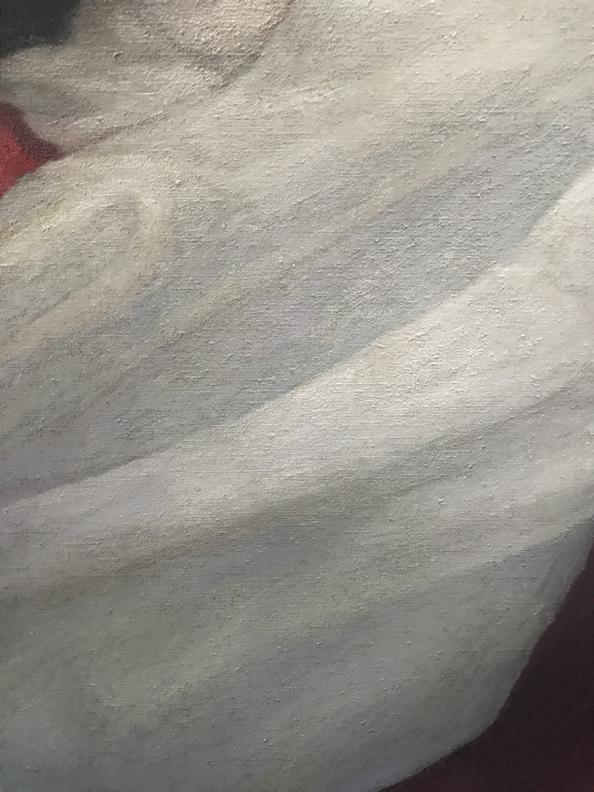 , Transcending Traitors, cloth 2 detail, 2020, oil on linen
