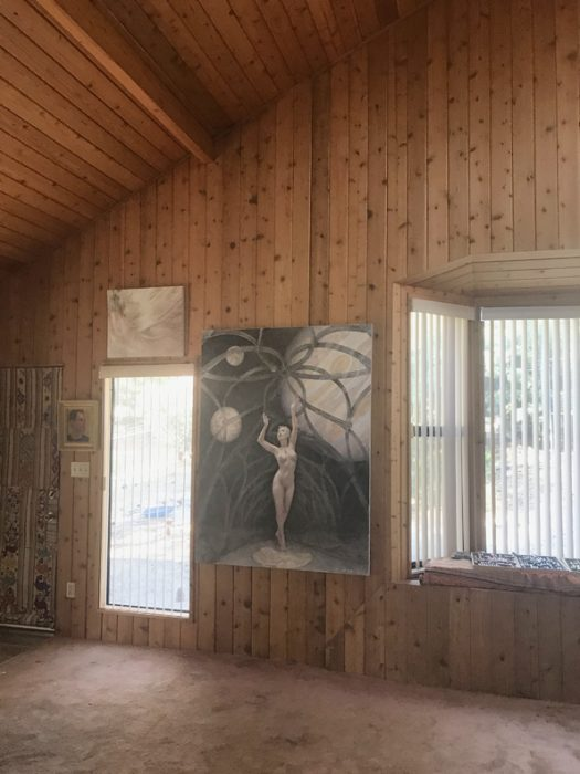 Michael Newberry's Idyllwild Studio Where no one has Gone before, oil on linen, with Georgina Leahy
