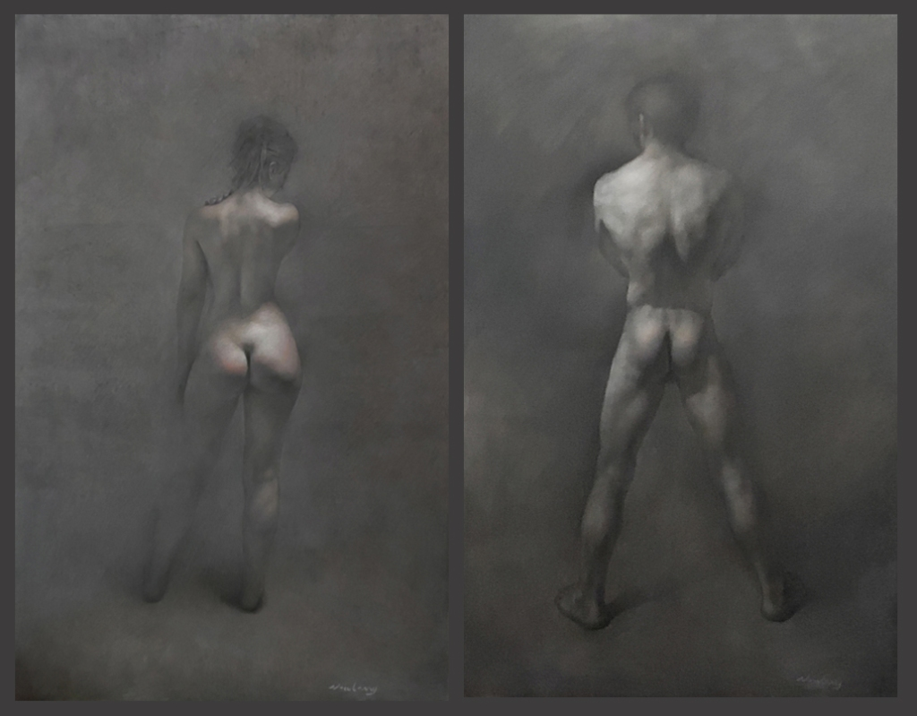 Newberry, Adam and Eve, diptych, 2016, oil on linen, 72x92""