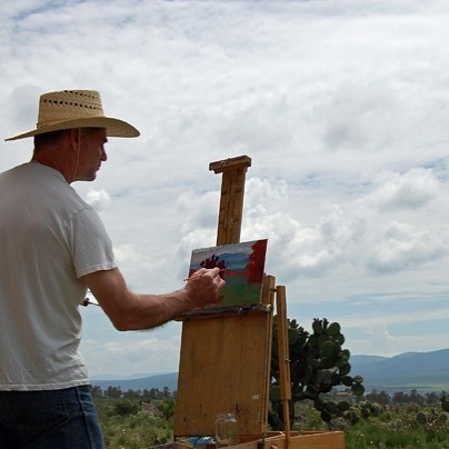 Michael Newberry painting in Mexico, circa 2007