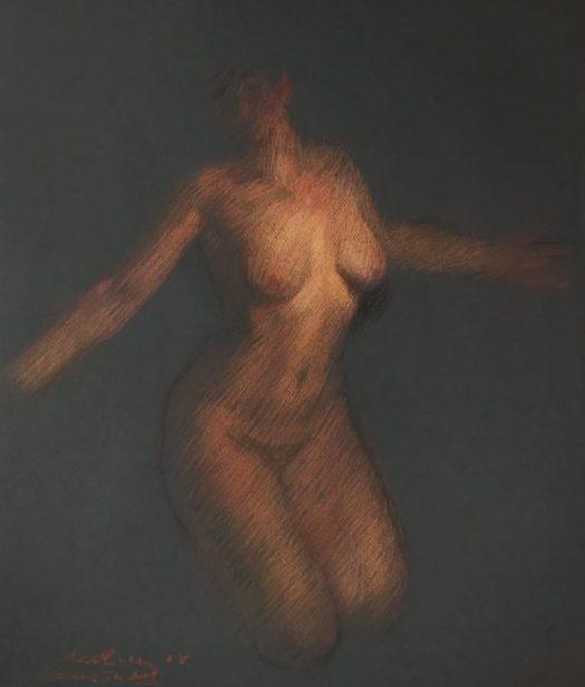 Newberry, Venus Study, pastel on black paper