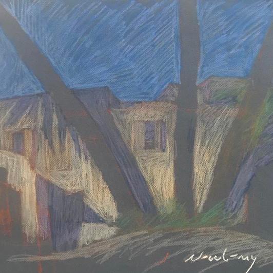 Newberry, Rhodes 3 Palms, 1988, pastel on paper,
