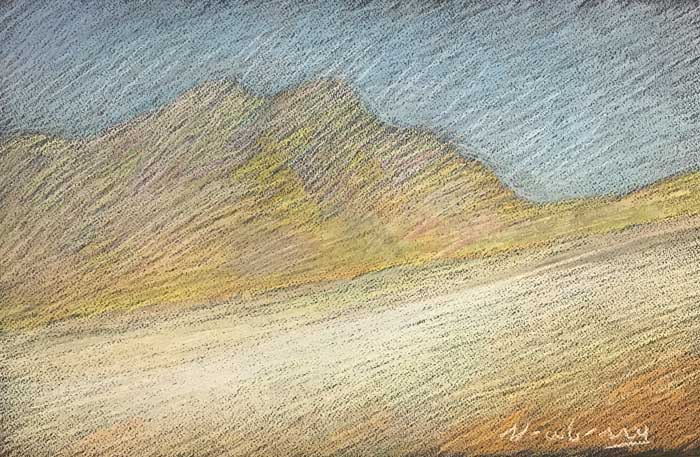 Newberry, landscape pastel, recreating the brightness of daylight through color theory.