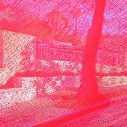 Newberry, Neutra House, 2010, pastel on red paper,