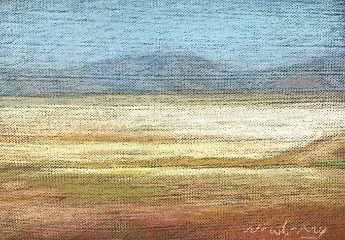 Newberry, pastel on an american road trip, near the boarder of texas and NM