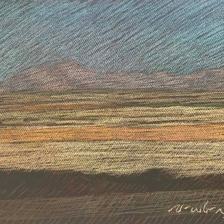 Newberry, Texas Fields in Gold, Mauve, and Dusty Blue. Pastel