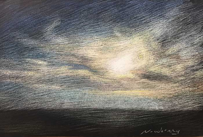 Newberry, pastel painting of sun hidden by clouds