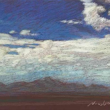 Newberry, Blue, Pink, and Aqua Sky over Texas, 2020, pastel