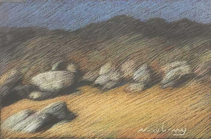 """Newberry, Borrego Rocks, 2020, pastel, 13x18"""""""