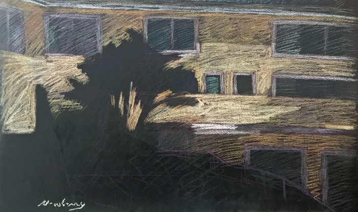 Newberry, Gold Santa Monica Apartment Building, 2010, pastel, 16x24 inches