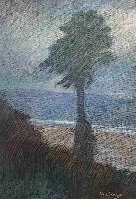 Newberry, Palm Ocean Ave, 2010, pastel, 21x15""