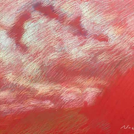 """Newberry, Red Sky over Texas, 2020, pastel, 13x18"""""""