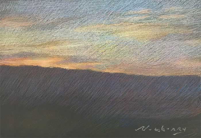 Newberry, Orange Sunset over San Jacinto Mountains, pastel
