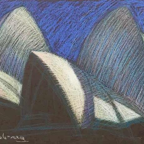 Newberry, Sydney Opera House, pastel