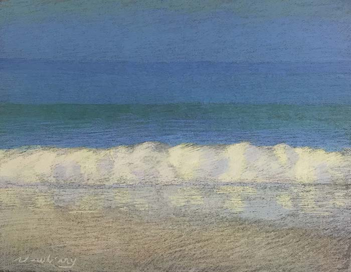 Newberry, Apollo Beach, Blue, Yellow, and Pink, 2020, pastel, 18x24 inches.