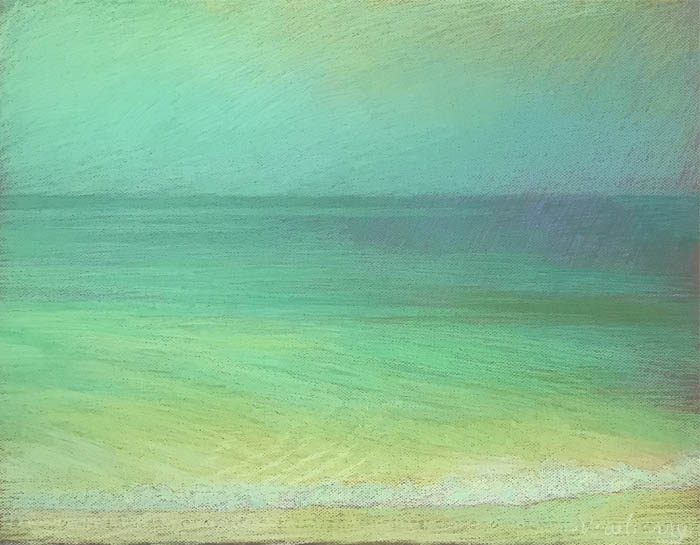 Newberry, Apollo Beach, Green, Green, and Yellow, 2020, pastel, 18x24 inches