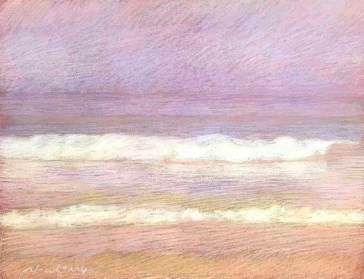 Newberry, Apollo Beach, Violet, Peach, and Gold, 2020, pastel, 18x24 inches