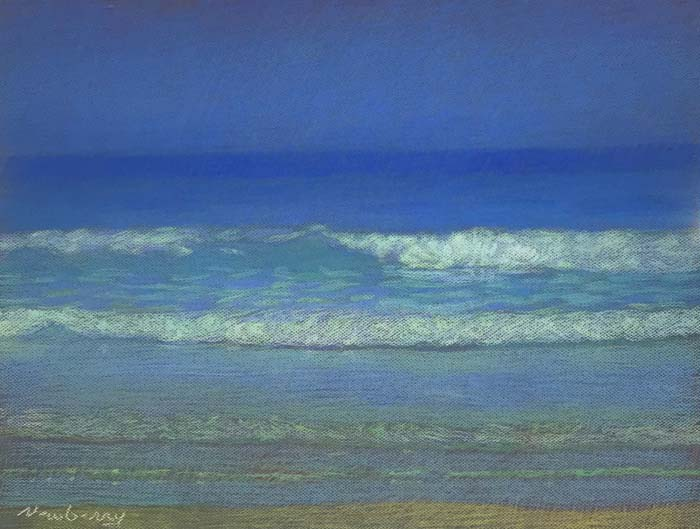 Newberry, San Onofre Blue, Blue, and Green, 2020, pastel, 18x24 inches