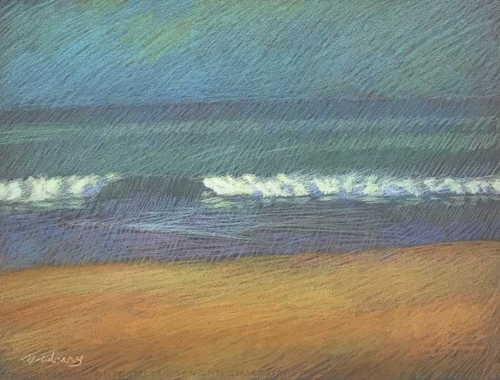 Newberry, San Onofre Yellow-Orange, 2020, pastel, 18x24 inches