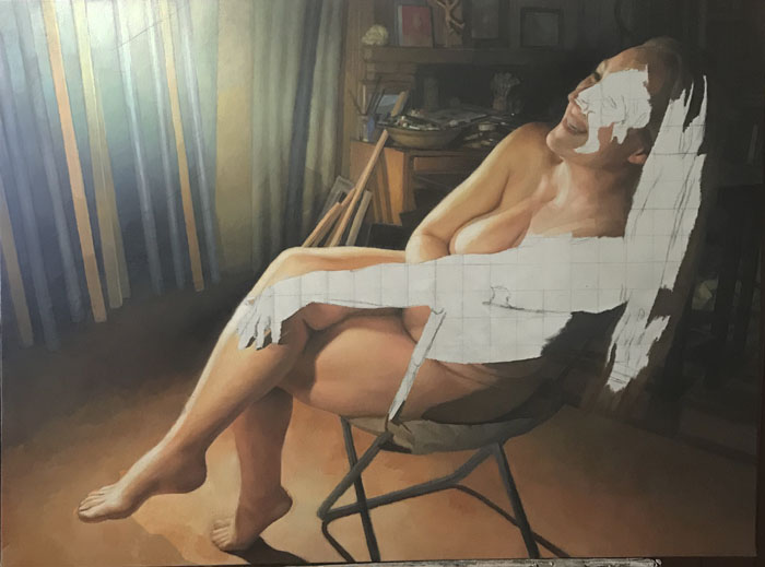 Newberry, wip, model in the studio, Danae?, oil, 42x56 inches