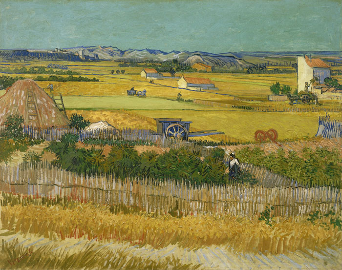 Vincent Van Gogh, Harvest at La Crau with Montmajour in the Background, 1888, Van Gogh Museum, Amsterdam, 29x36 inches