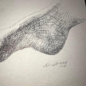 Newberry, ink studies of model's right heel