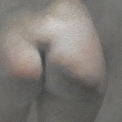 Newberry, Eve detail, right cheek, oil, life size