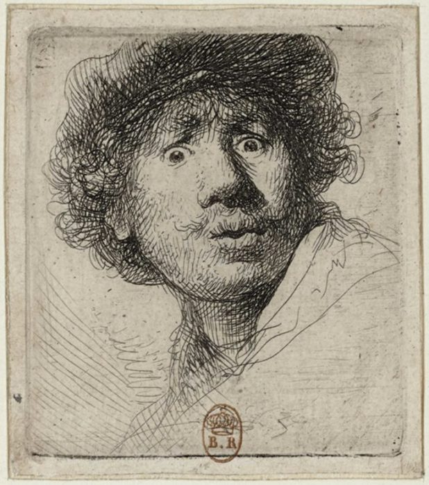 Rembrandt van Rijn, Self-Portrait in a Cap, Wide-Eyed and Open-Mouthed, c. 1630. Etching and drypoint; 2.09 x 1.81 inches. Bibliothèque nationale de France.